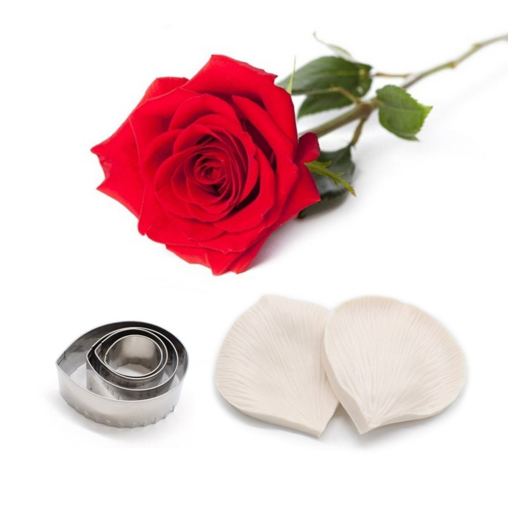 AK ART KITCHENWARE Rose Petal Decoration Tool Leaf and Flower Tool Kit Stainless Steel Cookie Cutter Set Silicone Veining Mold Petal Sugar Flower Making Tool A348&VM057