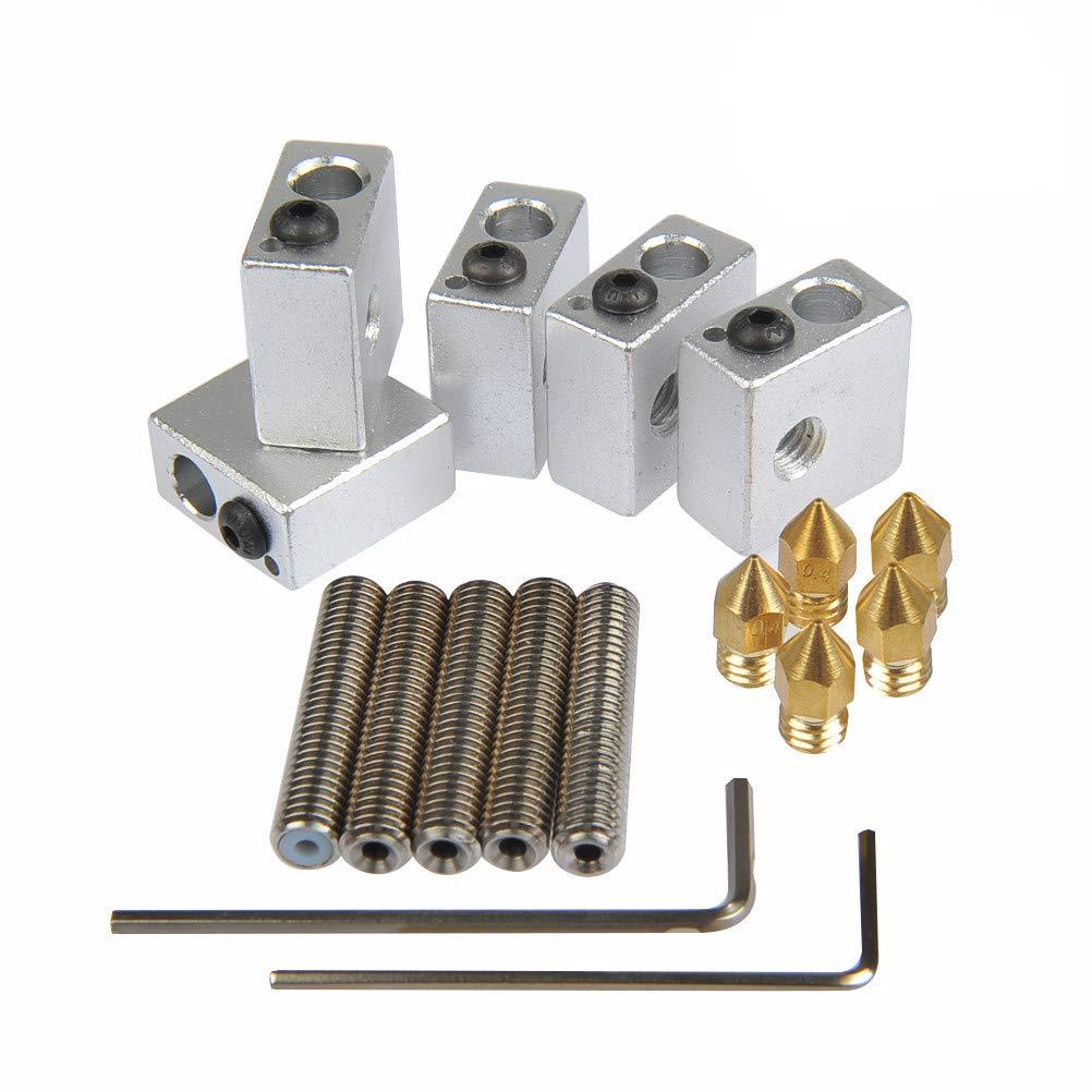 YOTINO 5pcs 30MM Length Extruder 1.75MM Teflon Throat Tube and 5pcs 0.4MM Brass Extruder Nozzle Print Heads and 5pcs Heater Blocks Hotend for MK8 Makerbot Anet A8 3D Printer (Bonus: 2pcs hex key wrenches)