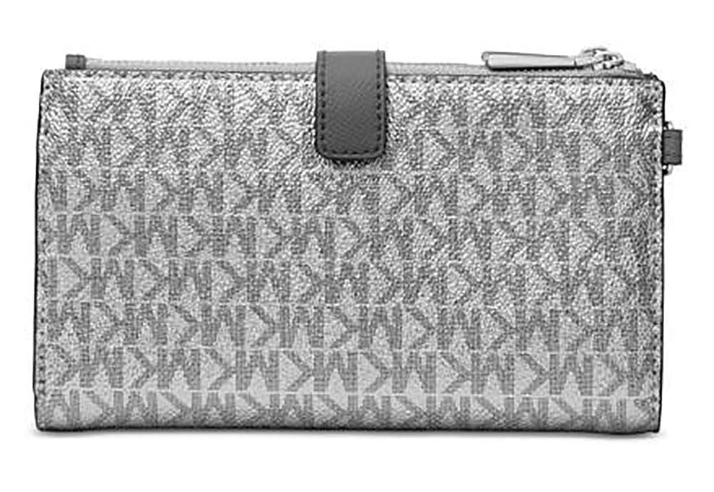 Michael Kors Jet Set Travel double Zip Wristlet (Silver/Black) by Michael Kors (Image #2)