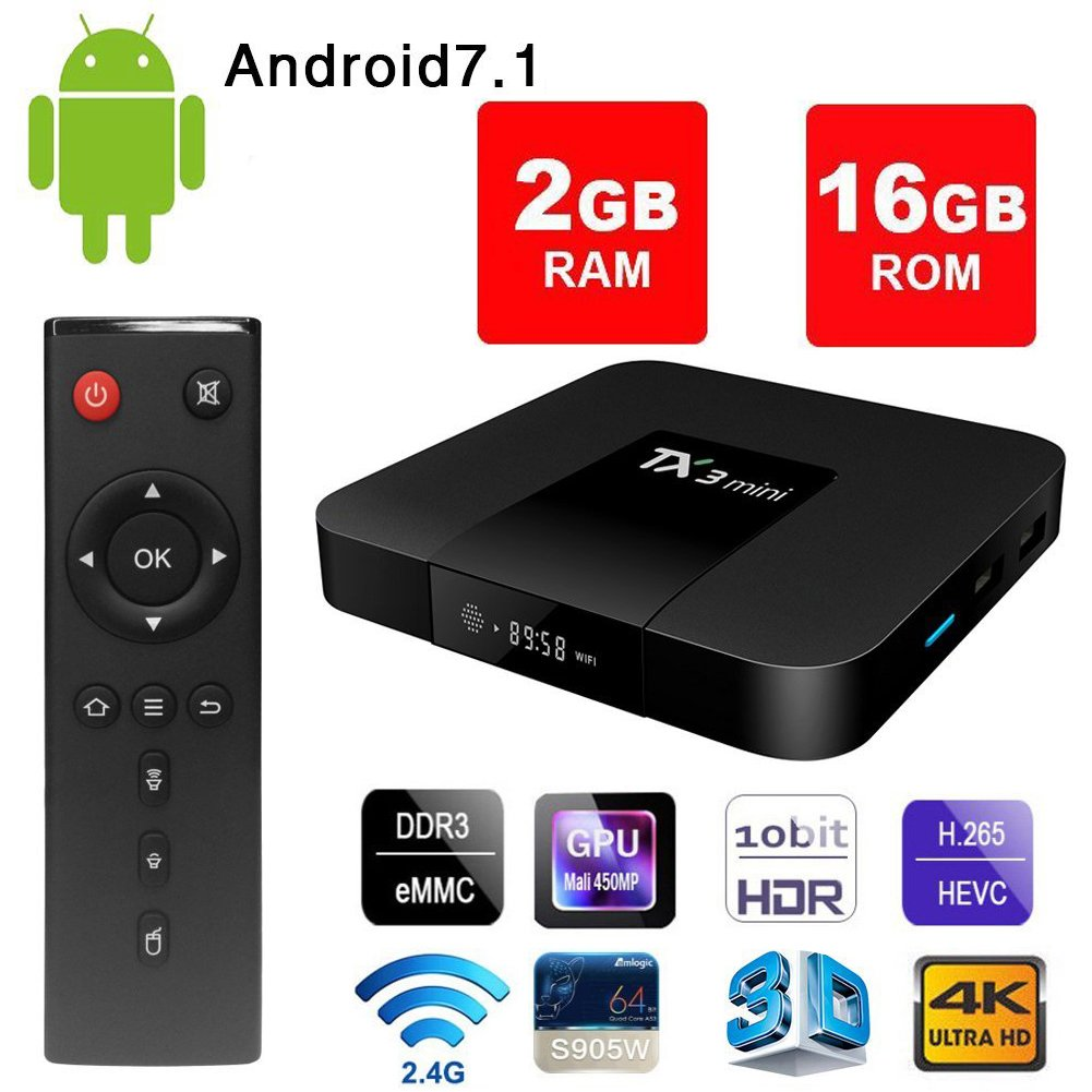 Amazon com: Android 7 1 Smart TV Box - VGROUND TX3 Mini Android TV