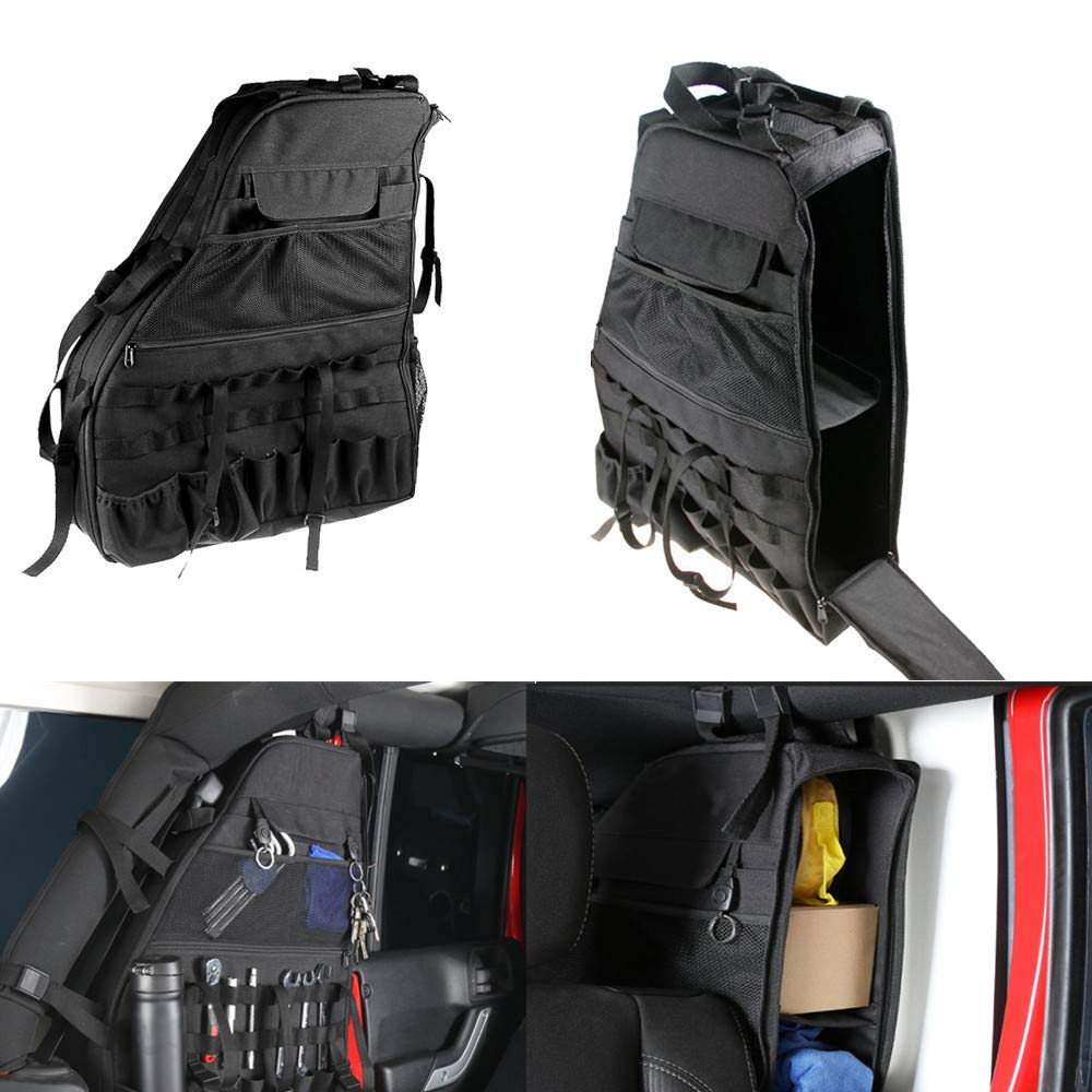 Multi-Pockets Storage&Roll Bar Storage Bag Tool Kits Bottle Drink Phone Tissue Gadget Holder Cargo Bag Saddlebag For 2007-2016 Jeep Wrangler JK 4-door(2 Pcs) J083 lantsun auto