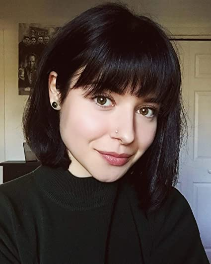 Surprising Queentas 12 Short Black Bob Straight Synthetic Hair Wig With Bang Natural Hairstyles Runnerswayorg
