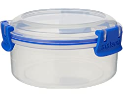 Sistema KLIP IT Utility Collection Round Food Storage Container, 10.0 oz./0.3 L, Clear/Blue