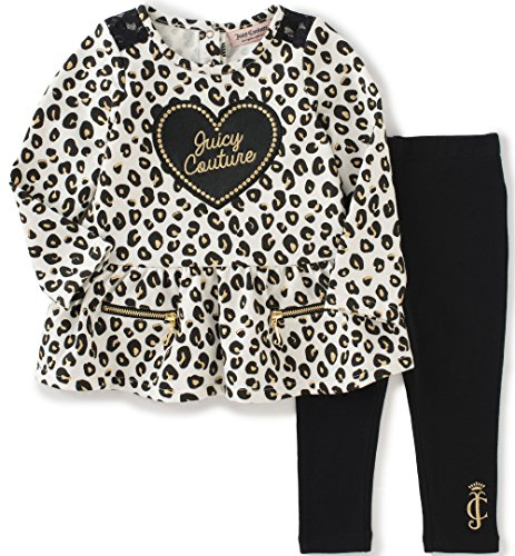 Juicy Couture Baby Girls' 2 Piece Animal Print Tunic and Legging Set, Black, 0-3 Months