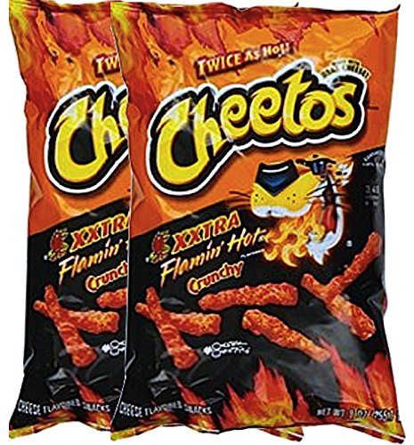 Cheetos Crunchy Xxtra Flamin' Hot Snack Care Package for College, Military, Sports Net Wt 2 1/4 Oz (2) (Sports Care Package)