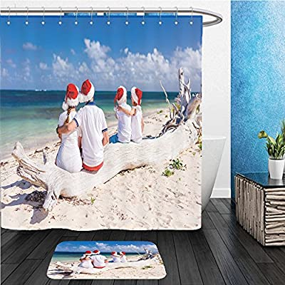 Beshowereb Bath Suit: ShowerCurtian & Doormat back view of beautiful family wearing red santa hats at tropical beach celebrating christmas 495687178