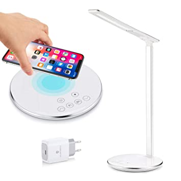 Lámpara de escritorio LED con Qi Fast cargador inalámbrico para Samsung Galaxy & iPhone X / 8 / 8 Plus, lámparas de mesa de oficina, 4 colores ...