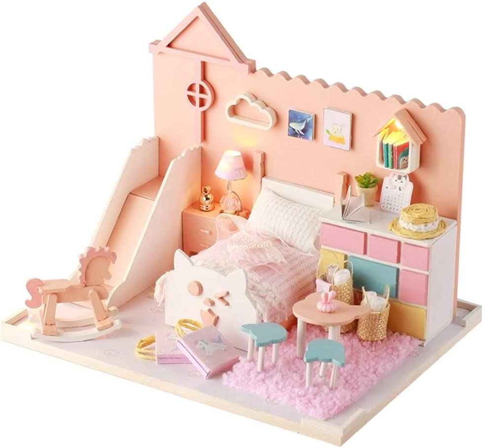 Wooden Dolls House Furniture Miniature 6 Room For Kids Child Toy Gifts Hot SL
