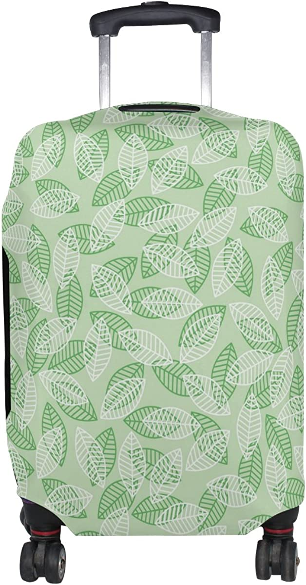 LAVOVO Retro Green Leaves Luggage Cover Suitcase Protector Carry On Covers