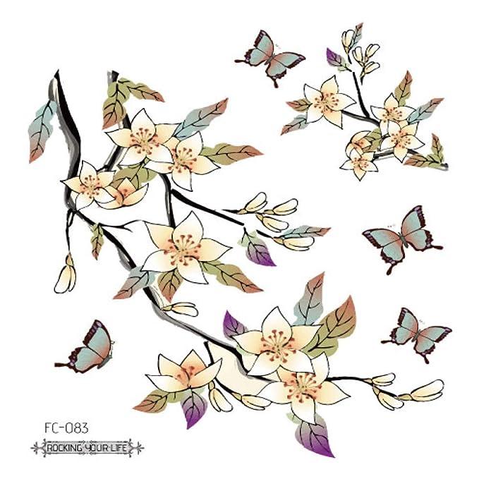 adgkitb 5piezas Flores Tatuajes Falsos Tatuaje Pegatinas Pecho ...