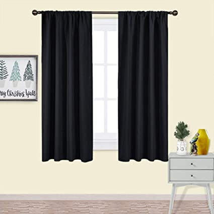 Amazon Com Nicetown Black Blackout Curtain Blinds Solid Thermal