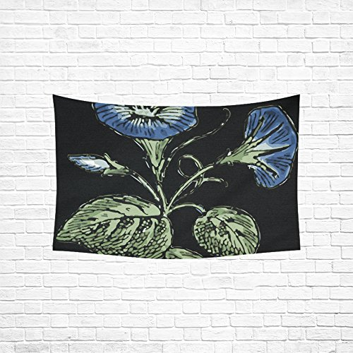 Flora Floral Comforter - WUTMVING Tapestry Morning Glory Flowers Blue Blossom Flora Hippie Tapestries Wall Hanging Flower Tapestry Wall Hanging Dorm Decor For Living Room Bedroom 60 X 40 Inch
