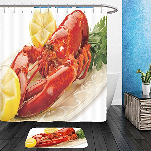 Vanfan Bathroom 2 Suits 1 Shower Curtains & 1 Floor Mats A lobster with lemon ready to eat _106587769 From Bath room
