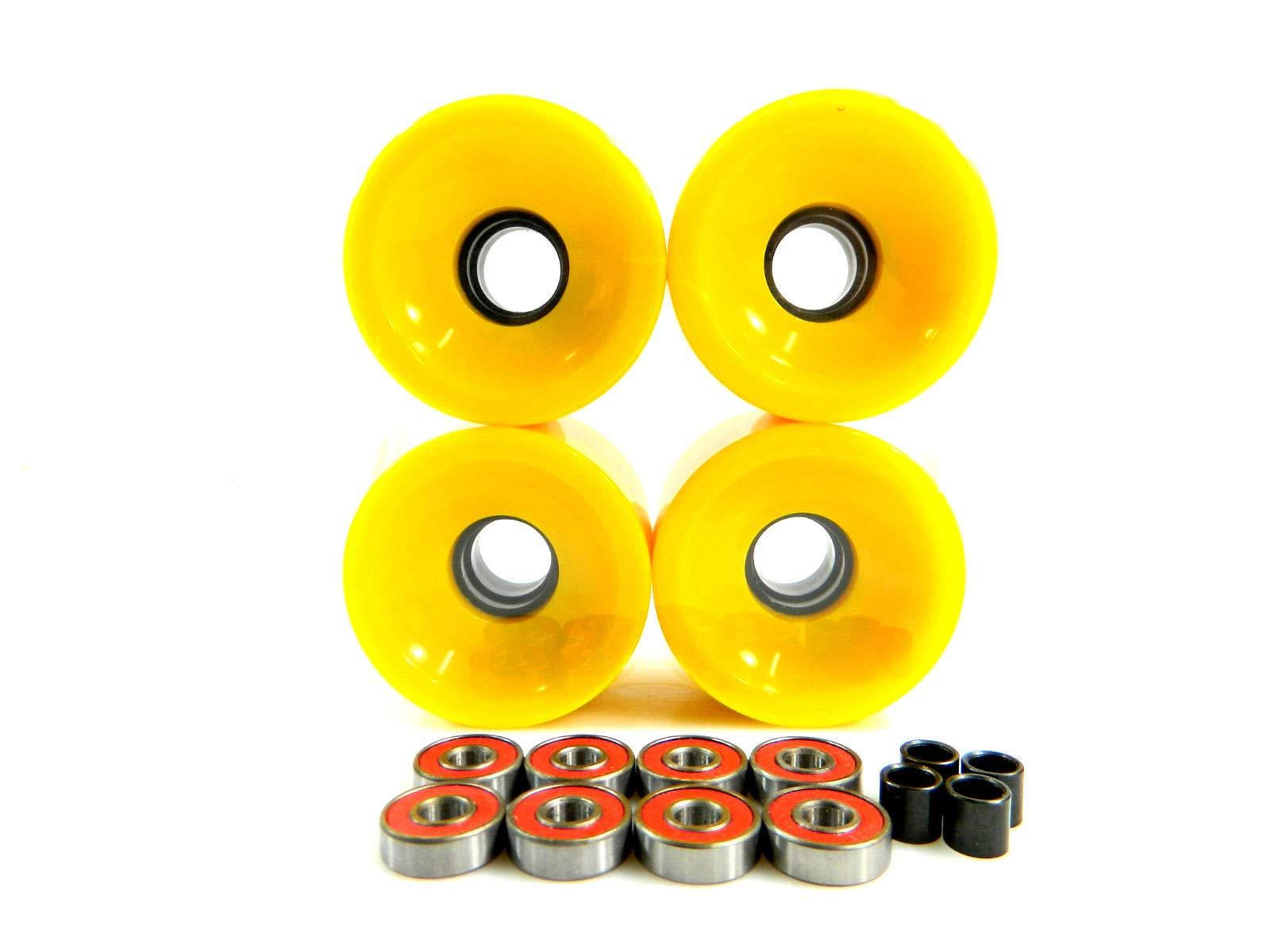 Good Skateboard Yellow 65Mm Longboard Cruiser Wheels + ABEC 7 Bearing + Spacers