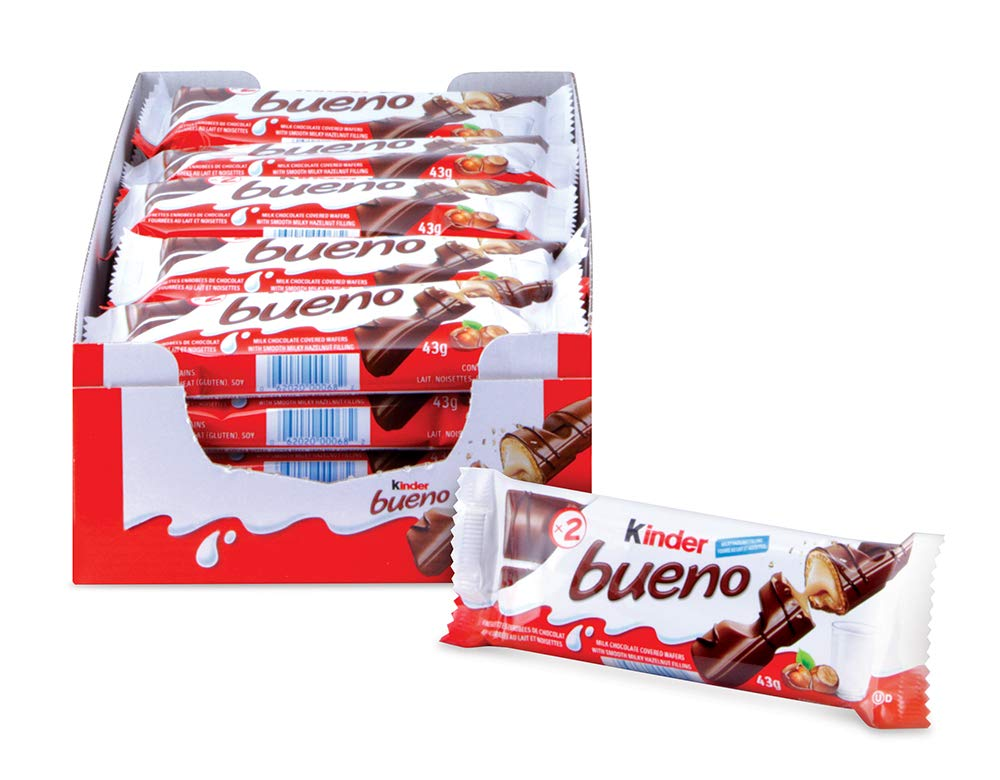 CDM product Kinder Bueno Milk Chocolate and Hazelnut Cream Candy Bar, 20 Packs, 2 Individually Wrapped Bars Per Pack big image