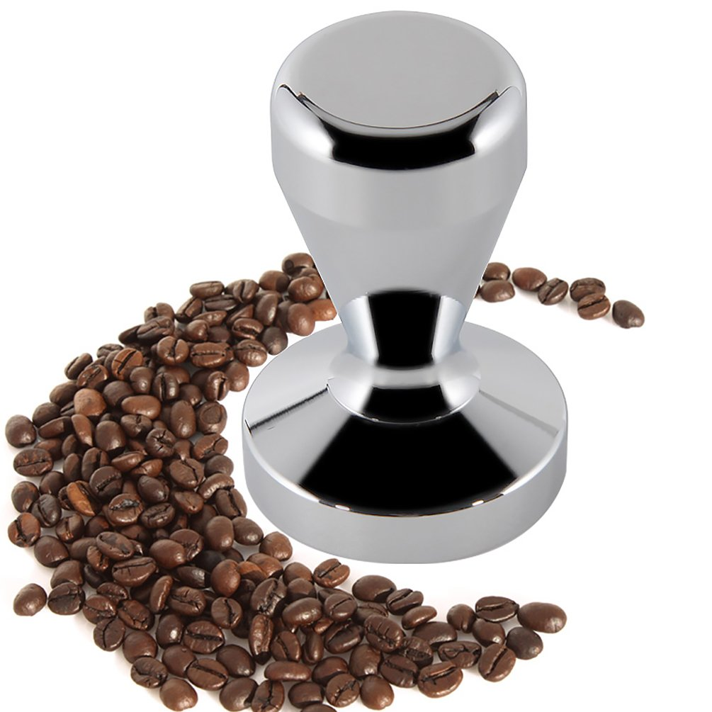 ZNYSTAR Stainless Steel Coffee Tamper Flat Base Handle Bean Pressure Premium Espresso Coffee Tamper (49mm, Silver)