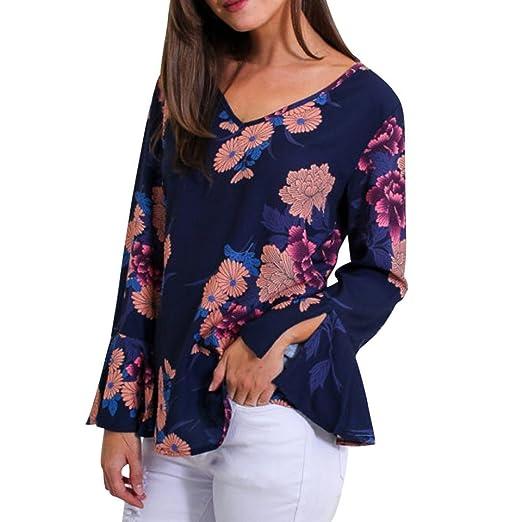 ❤ Tefamore Camiseta de Mujer Camisas Floral Impreso Cuello En V Manga de Campana Blouse Casual Blusas Mujer Suelto Tops: Amazon.es: Ropa y accesorios
