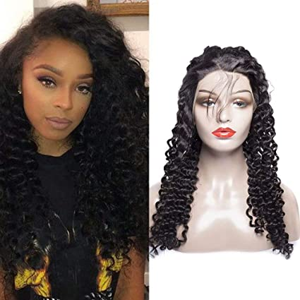 Maxine rizado Lace Front Peluca Cabello Humano 130% densidad Brasil Virgen DE RIZADO peluca con