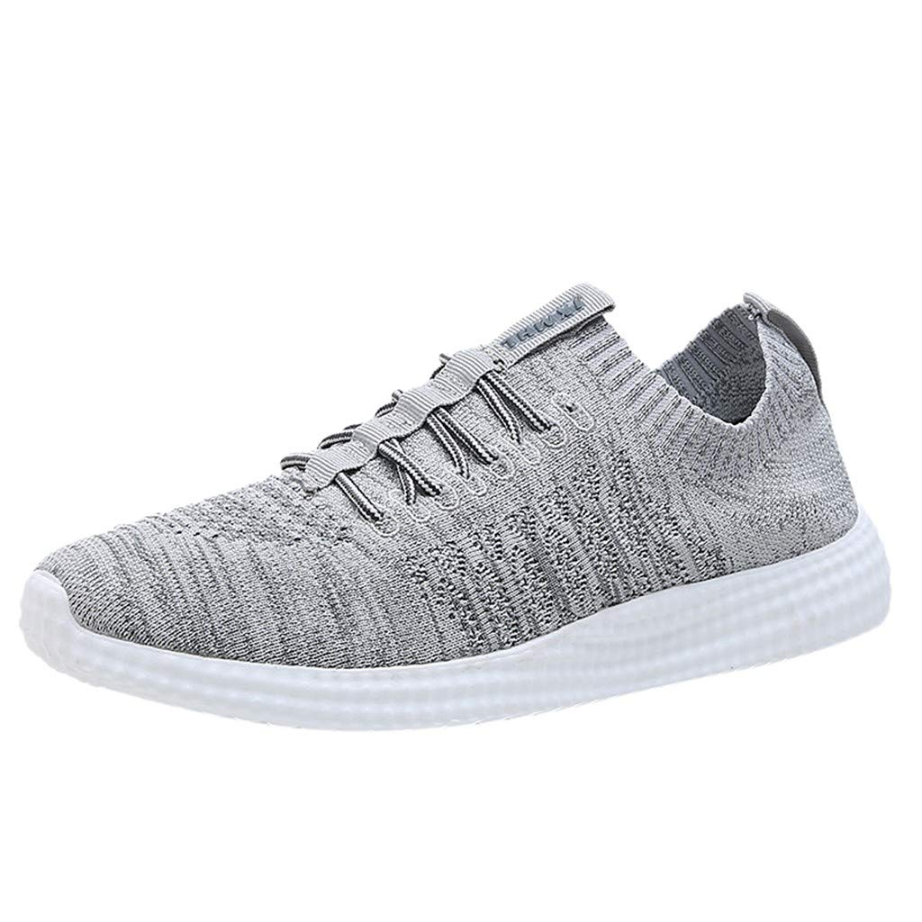 VonVonCo Summer Crew Shoes Fashion Men Breathable Mesh Outdoor Shoes Sneakers New Solid Running Shoes Grey
