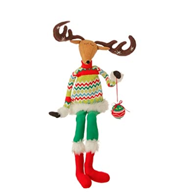 "Raz 36"" Merry & Bright Plush Sitting Reindeer Christmas Decoration with Posable Arms and Antlers: Toys & Games [5Bkhe1206129]"