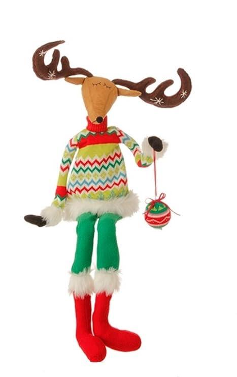91,44 cm navideños de reno de peluche sentado con brazos desechables y cuernos