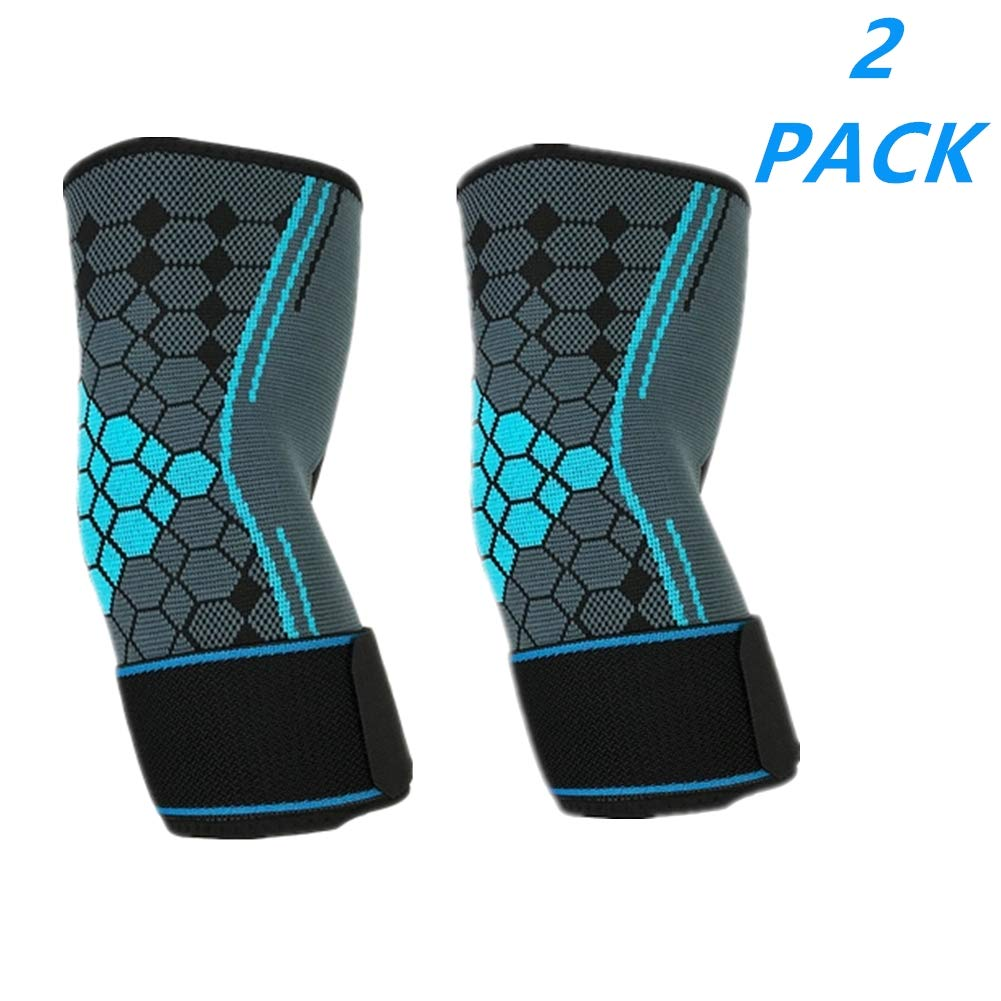(2 Packs) Adjustable Compression Elbow Support Elbow Brace Sleeves with Strap for Running,Fitness, Basketball,Volleyball,Table Tennis, Relieve Muscle Damage, Tendonitis, Arthritis (Blue, L)