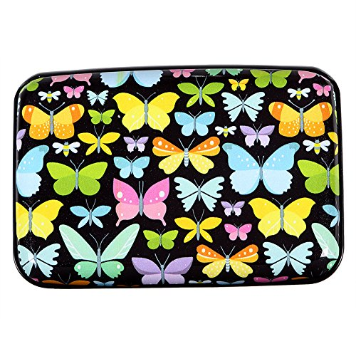 Aluminum Wallet RFID Blocking Metal Credit Card Holder Slim Hard Case (Rainbow Butterfly) Butterfly Business Card