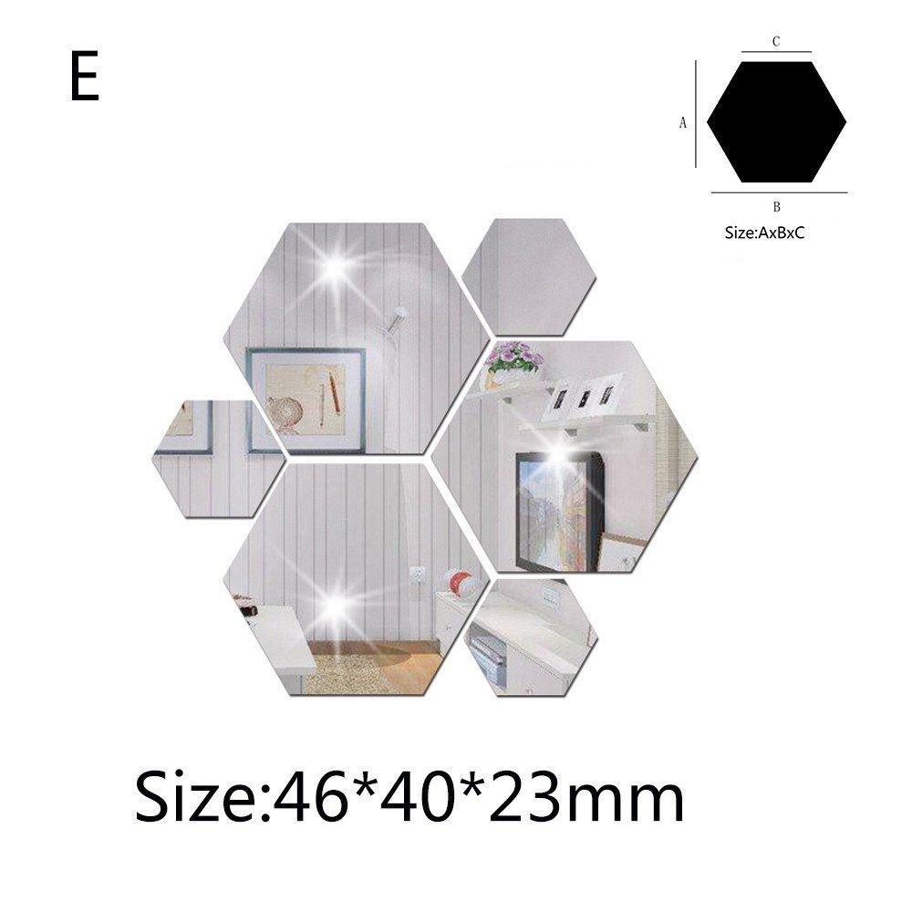 AMOFINY Home Decor 7Pcs 3D Mirror Hexagon Vinyl Removable Wall Sticker Decal Home Decoration Art DIY