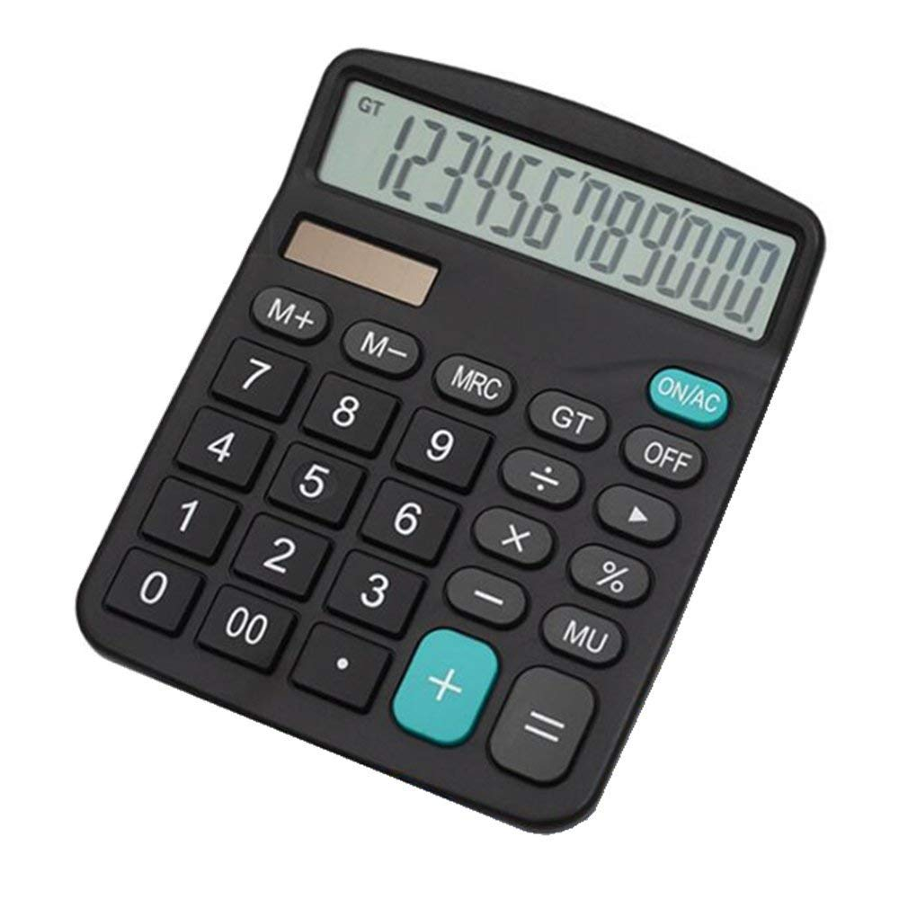 2 PCS Calculator,HIHUHEN 12-Digit Solar Battery Basic Calculator, Solar Battery Dual Power Office Calculator, with Large LCD Display and Large Buttons (Battery Included) (2 x Calculator)