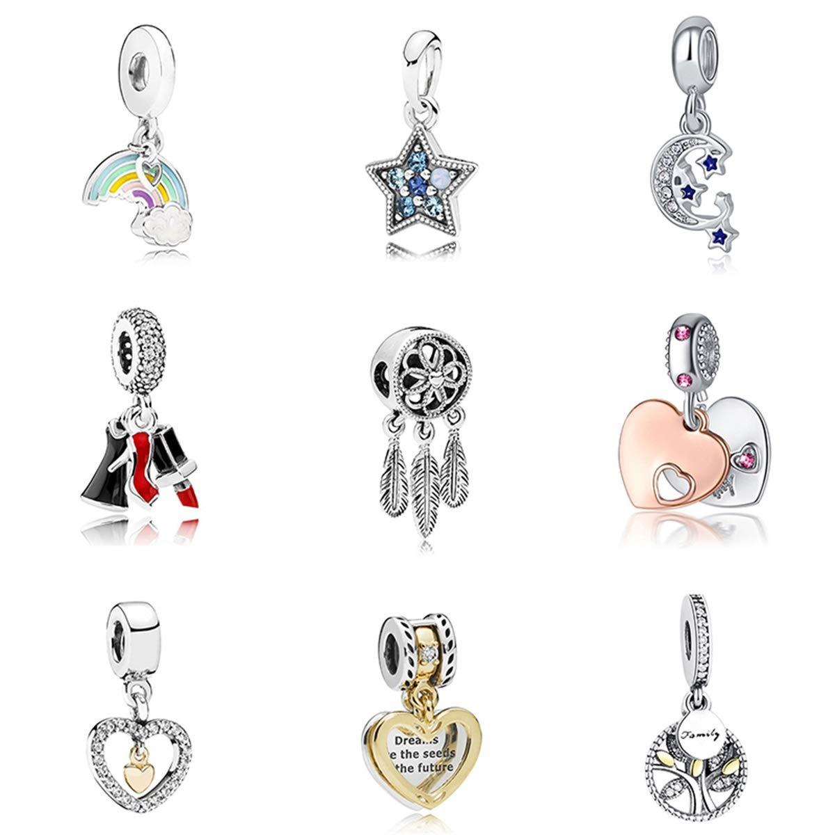 Styliee Charme de Perles de Cadeau de Bijoux 925 Sliver Bead Rose Gold Enamal Pendant Dangle Charm Fit Bracelet Necklace DIY Women Jewelry