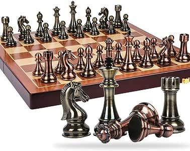 RJJX Home Ajedrez decoración del hogar de Madera Pieza de Metal Plegable de ajedrez Juego de ajedrez Juego de ajedrez Ajedrez decoración del hogar de Escritorio
