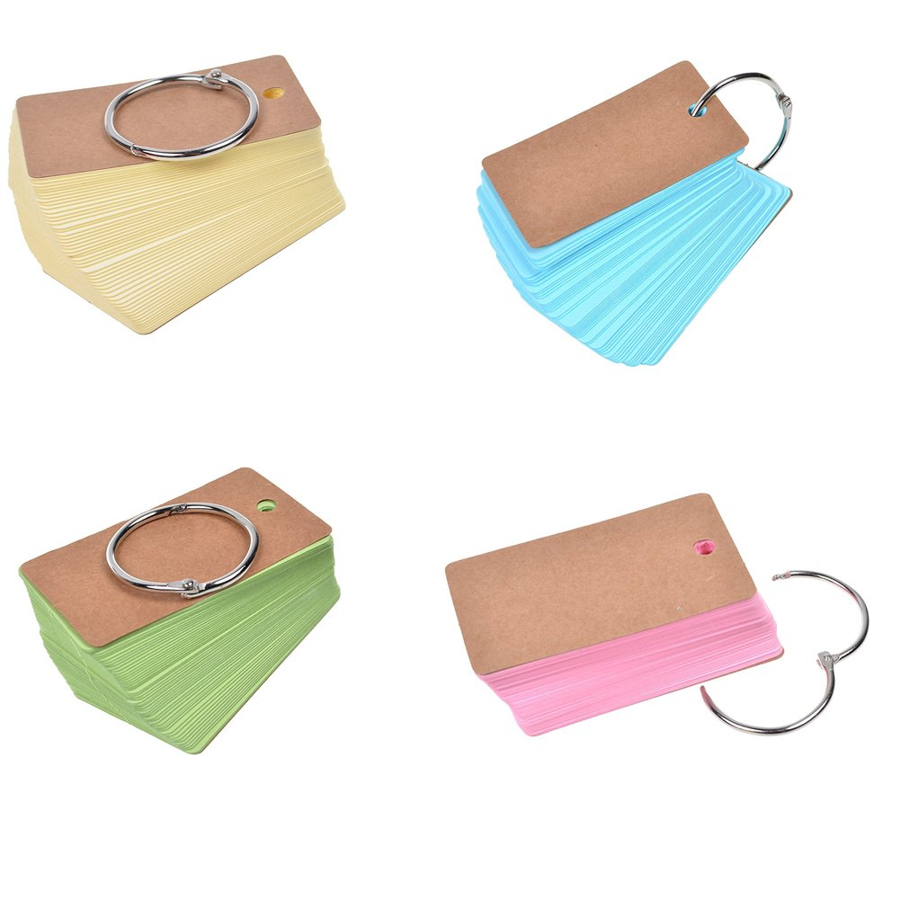Trycooling Set of 4 Removable Binder Ring Loose-leaf Flash Cards Study Cards Notes Notebook with 100 Unruled Blank Pages (Blue+Green+Yellow+Pink)