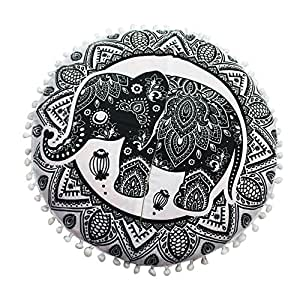 Amazon.com: Funda de cojín redonda, diseño de mandala indio ...