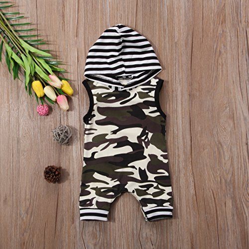 Hirigin Newborn Baby Boy Camo Sleeveless Romper With Hood Snap Bodysuit