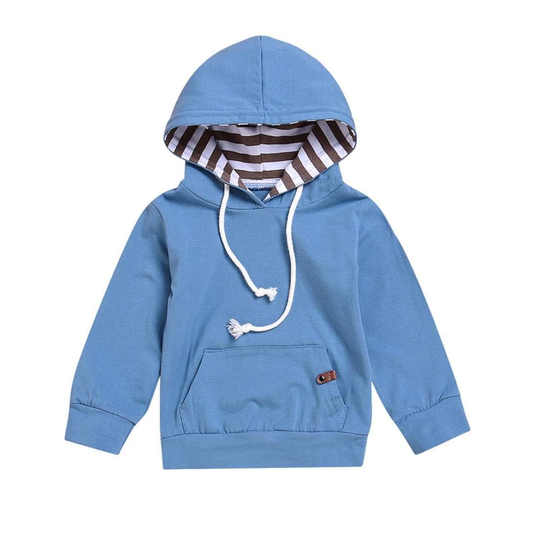 0-24 Months Toddler Infant Baby Boys Girls Solid Hooded Sweatshirt Casual Pullover Sports Tops Drawstring Pockets Hoodie (Blue, 18-24 Months)
