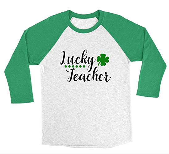 424ef6a19415 Image Unavailable. Image not available for. Color: Lucky Teacher 3/4 Sleeve  Unisex Raglan - Teacher St. Patrick's Day Shirts