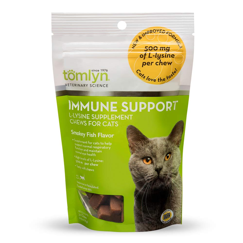 Tomlyn Immune Support Daily L-Lysine Supplement, Fish-Flavored Lysine Chews for Cats and Kittens, 30ct by TOMLYN