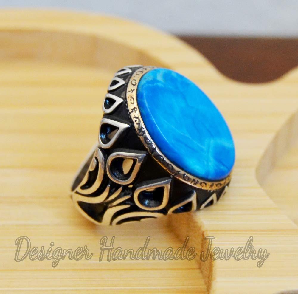 925 Sterling Silver Natural Blue Turquoise Gemstone Handmade Men Ring Sale