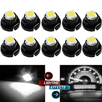 BlyilyB 10-Pack White T5 T4.7 Wedge Cluster Panel LED Light Replacement Compatiable To Dodge RAM 1500 2500 3500 2001-2011: Automotive