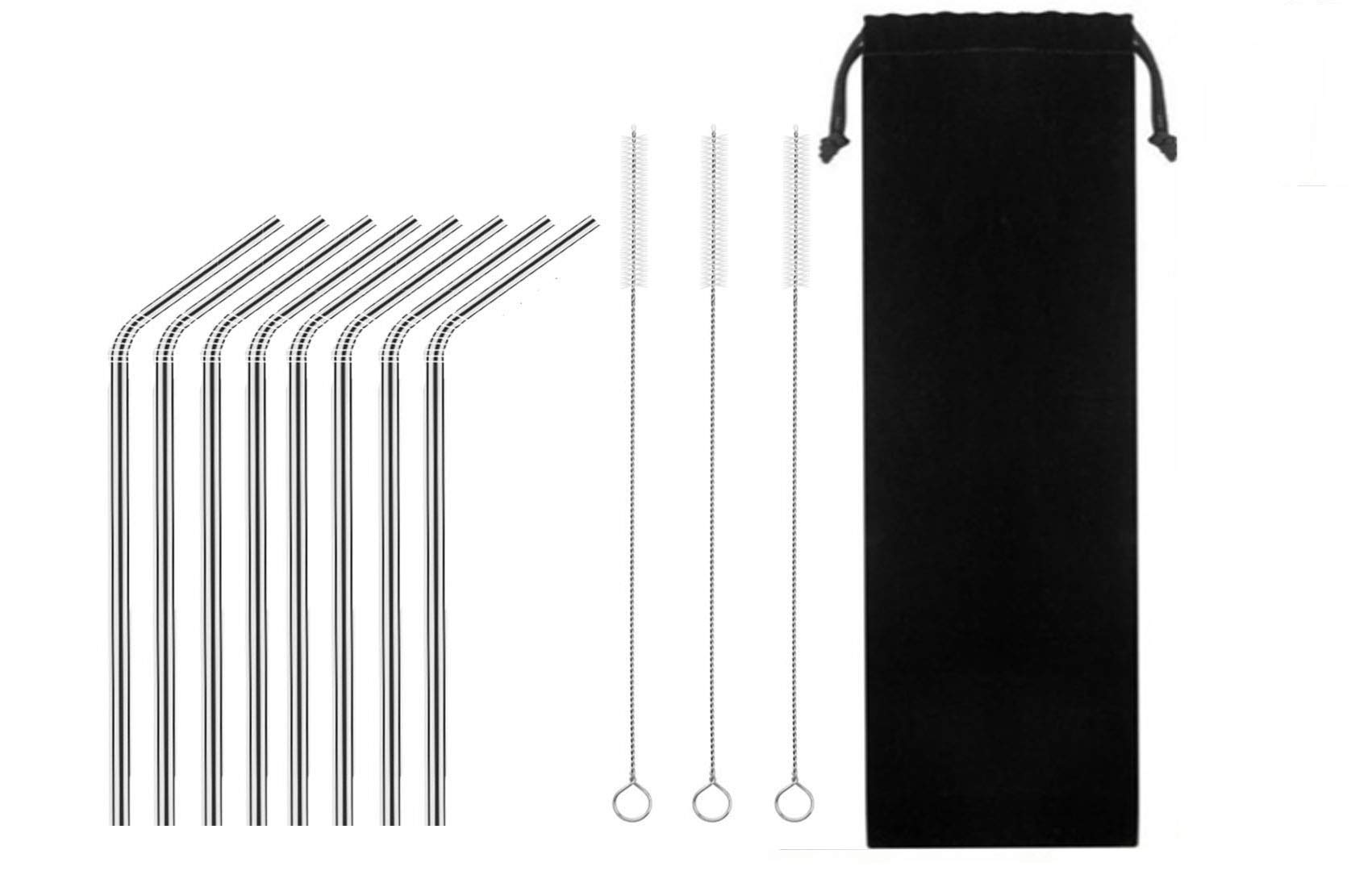 Stainless Steel Drinking Straw, TKTM Set of 8 Reusable Metal Stras for 20 oz(8.5''0.24 Bent)