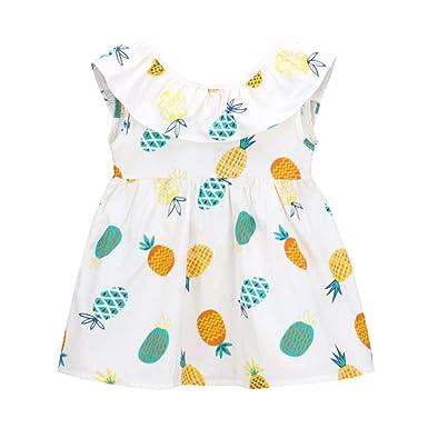 f12818f37338a Longra Bébé Filles Fruit imprimé Princesse Sans manches Robe Fille Robes à  Fleurs de Princesse Sans