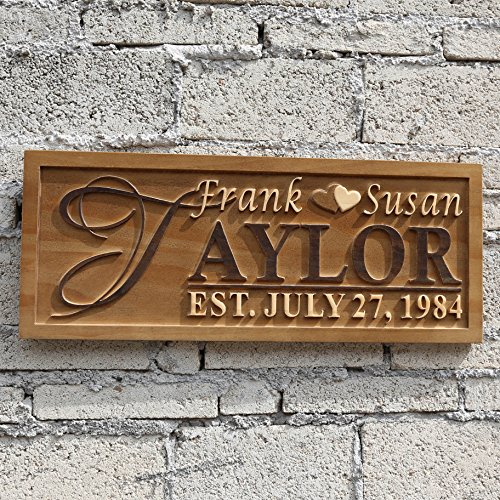wpa0003 Personalized Last Name Rustic Home Décor Wood Engraving Custom Wedding Gift Couples Anniversary Gift Established Anniversary Gift 3D Engraved Wooden Sign
