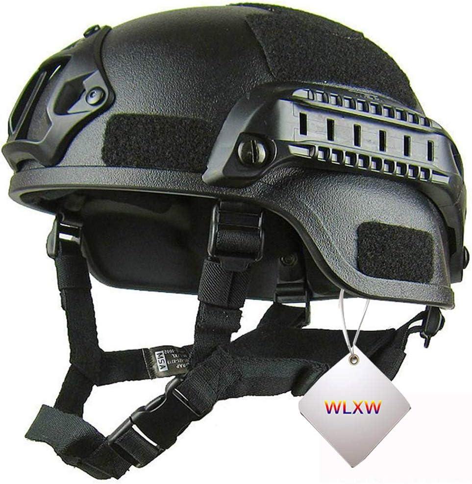 WLXW Casco Táctico Militar Mich 2000 Paintball, Casco de Circunferencia de la Cabeza Ajustable Casco Táctico de Pistola de Aire, Adecuado para La Protección de la Cabeza de Caza de Campo CS