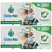 OdorNo Heavy Duty Disposal Bags, 2 Gallon, 2 Box of 25 Bags, (50 Bags Total) from OdorNo