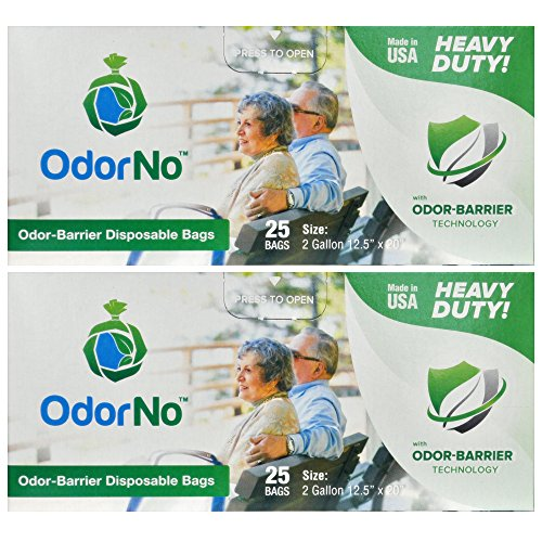 OdorNo Heavy Duty Disposal Bags, 2 Gallon, 2 Box of 25 Bags, (50 Bags Total)