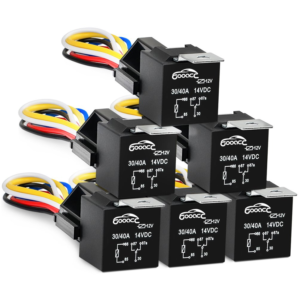 GOOACC 6 Pack Automotive Relay Harness Set 5-Pin 30/40A 12V SPDT with Interlocking Relay Socket and Harnesses, 2 years Warranty G-RE6
