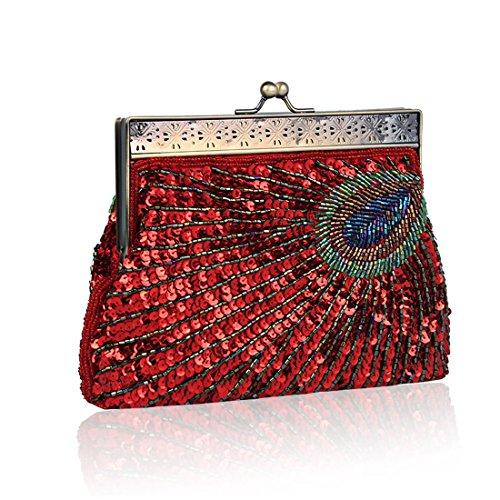 Antique Sequin Women's Vintage Peacock Clutch Beaded Evening Handbag Purse Fashion Designer Unusual Red Teal Elegant Raq4vS