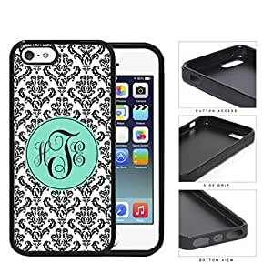 Black And White Damask With Teal Monogram (Custom Initials) Rubber Silicone TPU Cell Phone Case Apple iPhone 5 5s by icecream design
