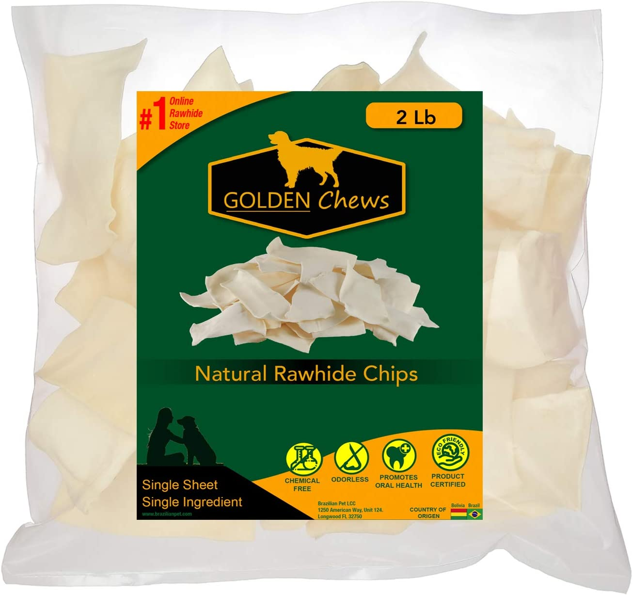 Golden Chews Natural Rawhide Chips Premium Long-Lasting Dog Treats with Thick Cut Beef Hides