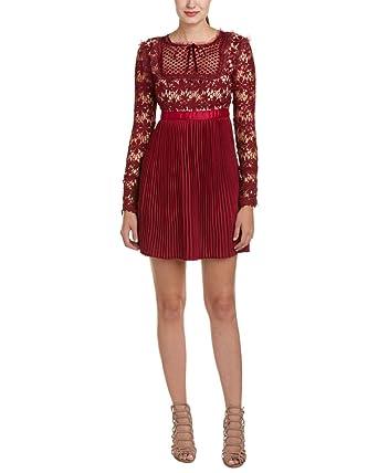 a174342cfa1c8 ROMEO   JULIET COUTURE Women s Short Sleeve Mock Neck Lace Dress Berry Dress